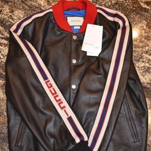 Authentic Gucci Leather Bomber Jacket